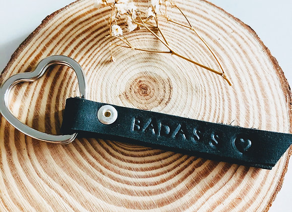 """Strong-Badass"" Leather Keyring."