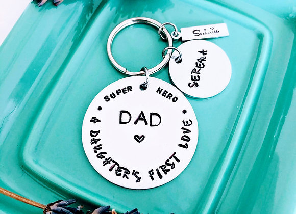 DAD.. Handstamped Keyring
