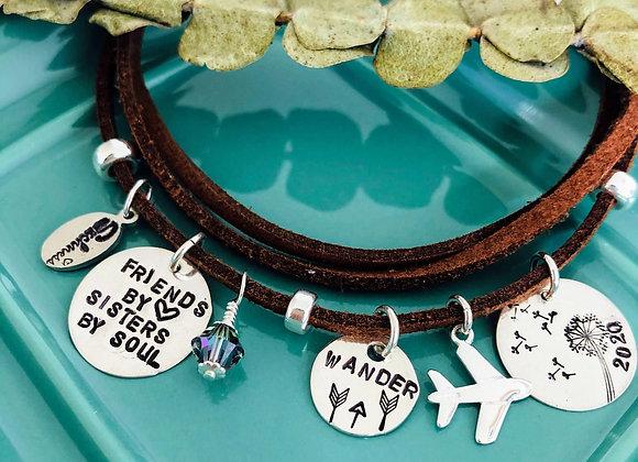 Friends by Heart Sisters by Soul three-row Bracelet