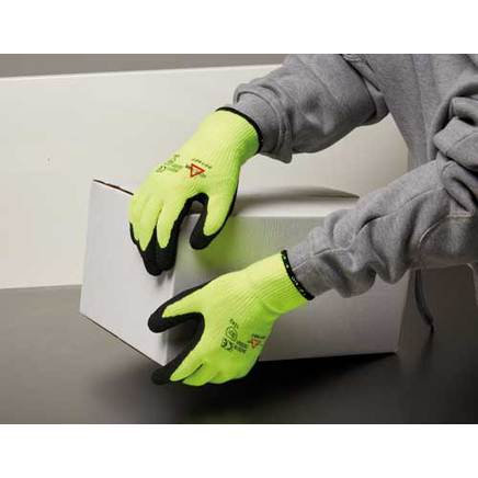 Keep Safe High Visibility Latex Palm Coated Glove 303001. PPE Stock Shop
