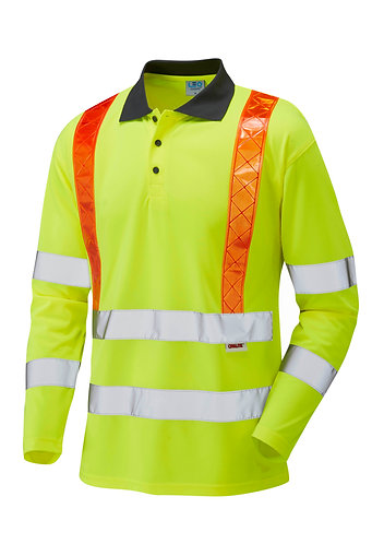 BICKLETON ISO 20471 Class 3 Orange Brace Coolviz Sleeved Polo Shirt