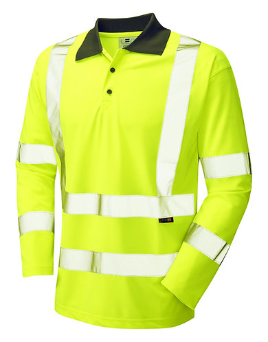 WOOLSERY ISO 20471 Class 3 Coolviz Sleeved Polo Shirt. Yellow. PPE Stock Shop