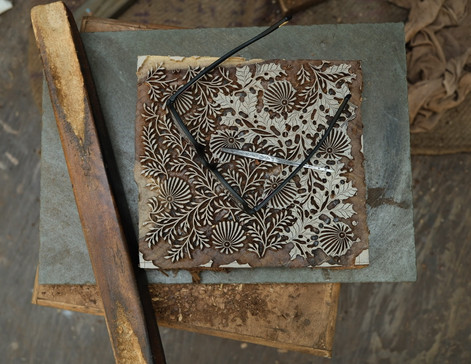 Floral pattern on Wooden Block being carved