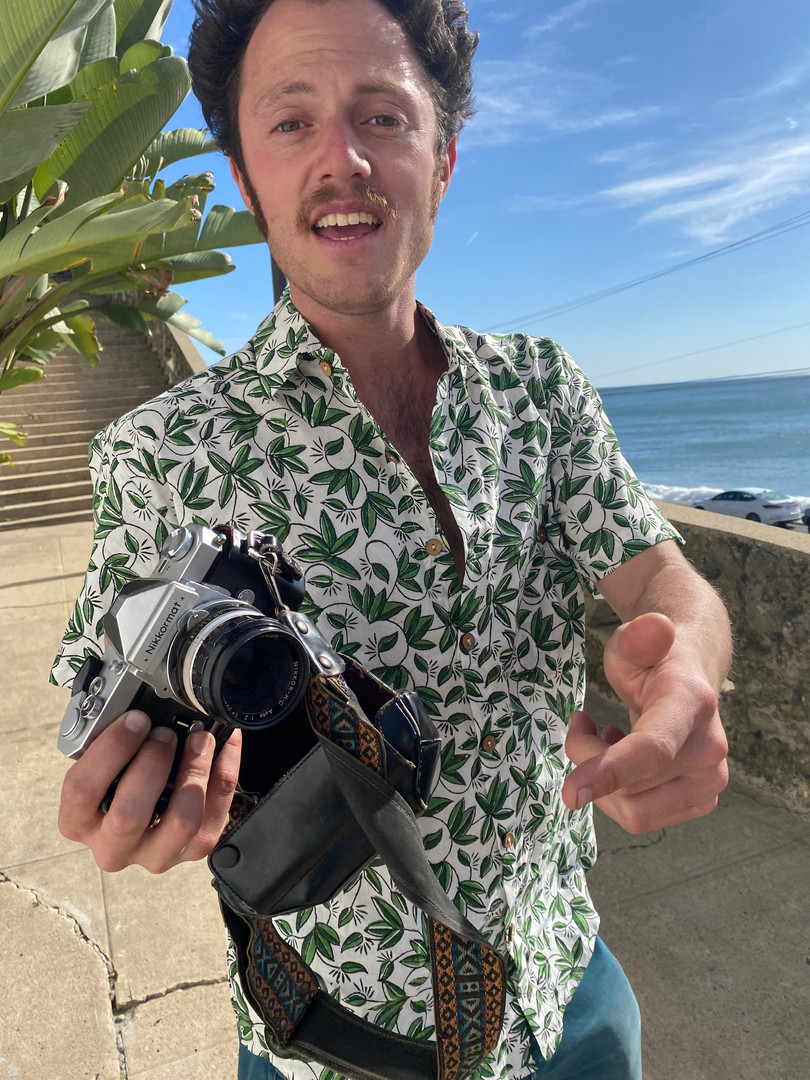 taking shots with film wearing the rare byrds block printed shirt