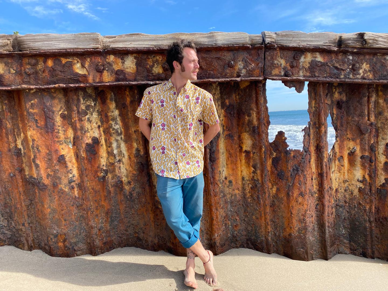 natural colors rusting the peir with seahorse block printed shirt