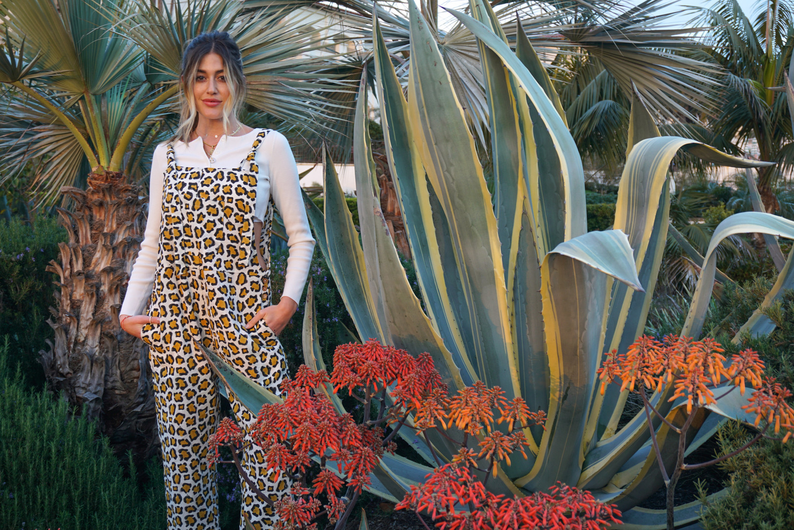Styley girl in the leopard block printed jumpsuit