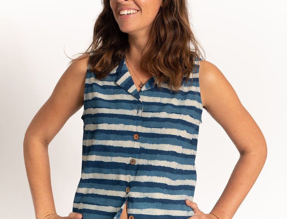 Indigo Dabu Stripes No Sleeve