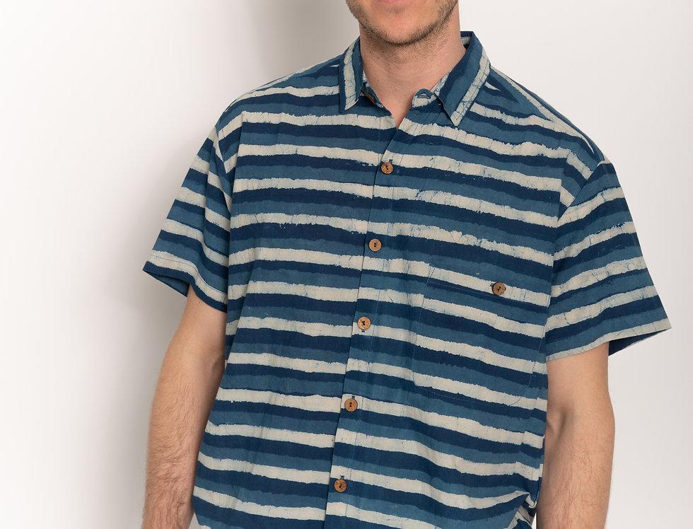 Indigo Dabu Stripes Short Sleeve