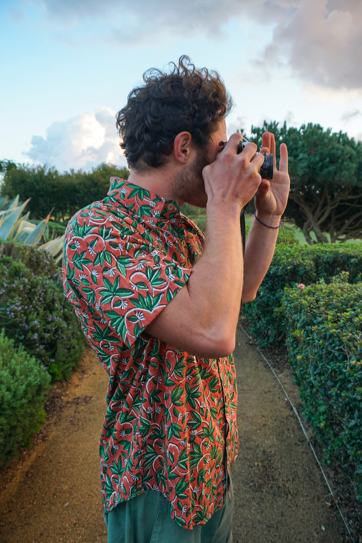 shooting the sunset on film with block printed shirt
