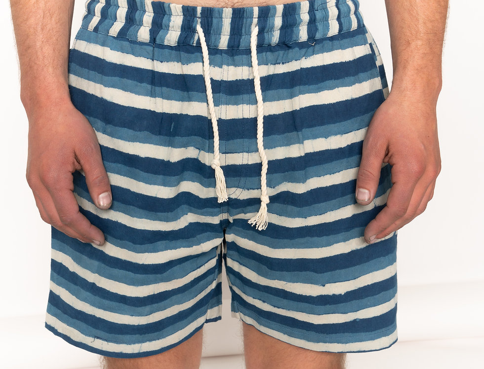 Striped Indigo Cruisy Shorts