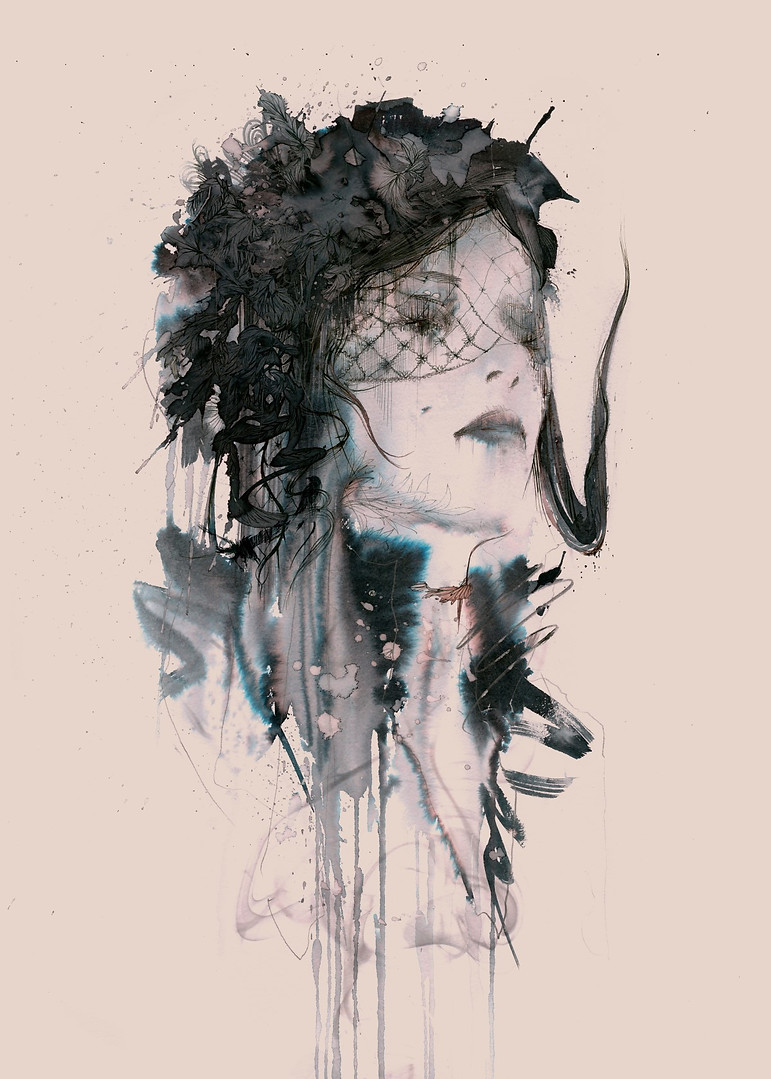 Woman in Black giclee print visual for w