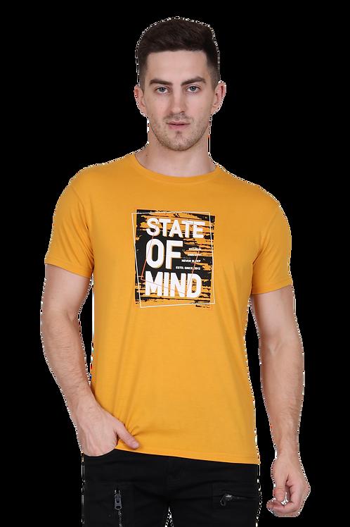 Men's Cotton Mustard Graphic T-Shirt