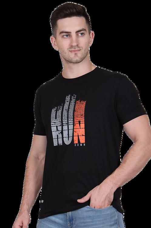 Men's Cotton Black Graphic T-Shirt