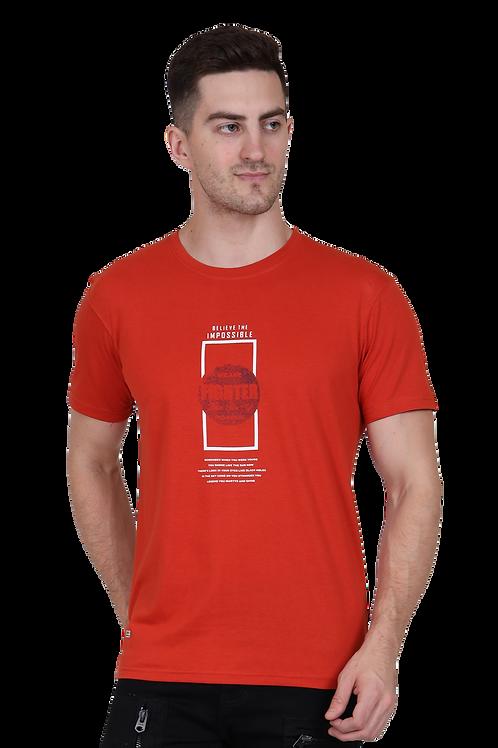 Men's Cotton Rust Graphic T-Shirt