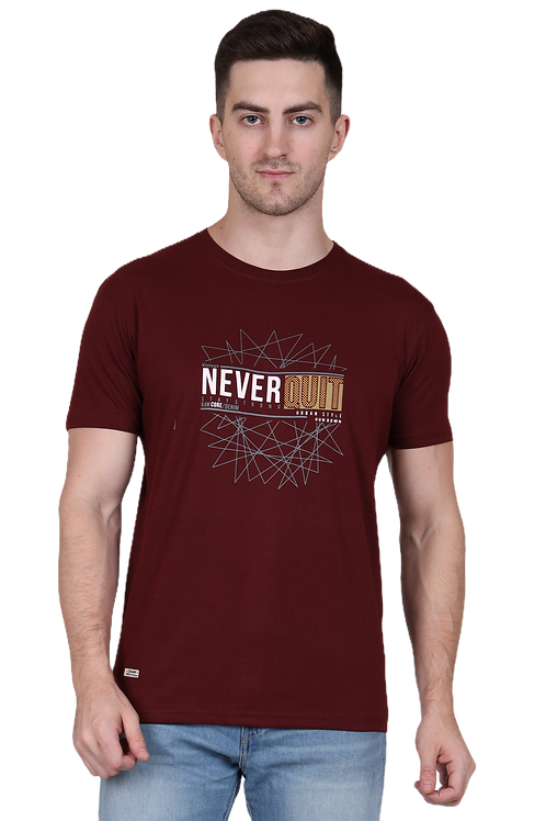 Men's Cotton Maroon Graphic T-Shirt