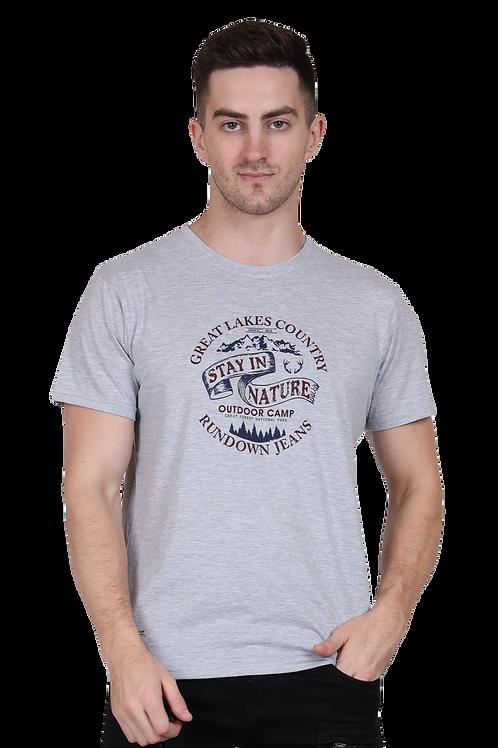 Men's Cotton Grey Graphic T-Shirt