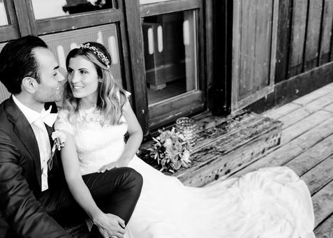 Die schöne Stefanie mit ihrem Bräutigam