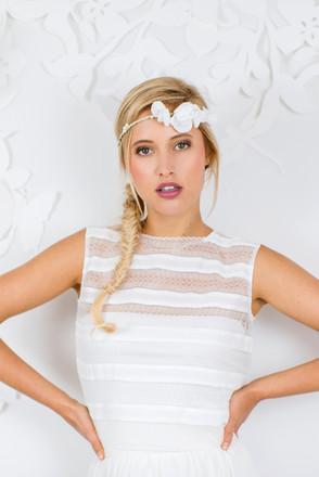 Beim Kollektions-Shooting 2017 für das Brautmodengeschäft La Robe Marie aus München durfte ich verschiedene Looks stylen, hier ganz im angesagten Boho-Look  Foto: Barbara Meyer-Selinger Model: Julie March
