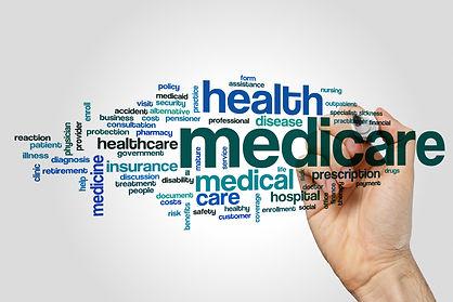 Medicare word cloud concept on grey back