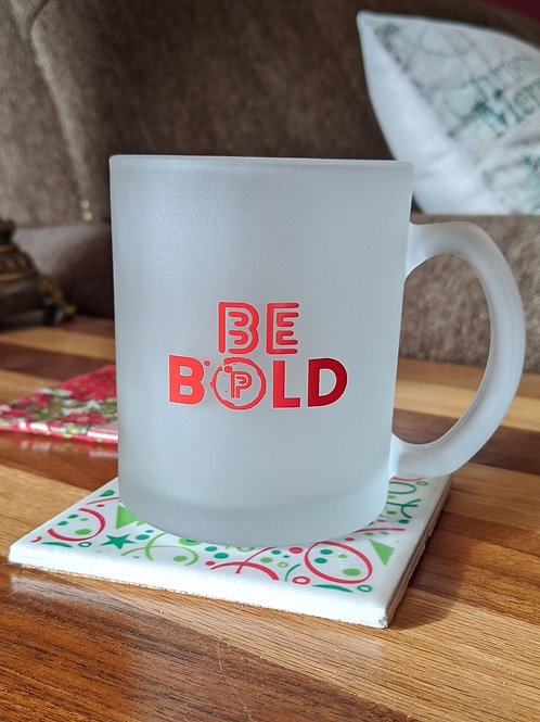 BE BOLD Frosted Glass Coffee Mug