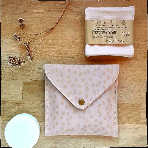 Ensemble pochette NUmy rose et ses lingettes lavables en coton biologique