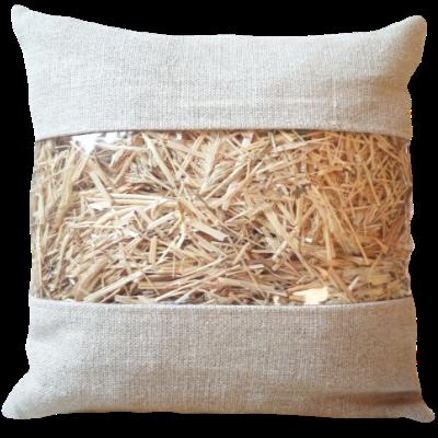 Coussin créateur 100% biologique et français composé de lin normand et paille bretonne, par Inspir'haies designer textile