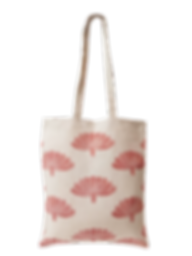 Tote bag Lin bio Inspir'haies imprimé à la main en France avec teinture naturelle, motif floral rouge garance