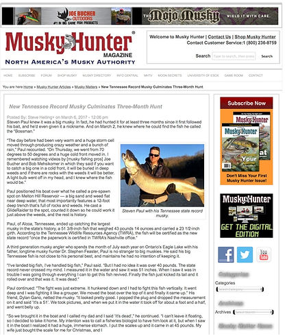 New Tennessee Record Musky Culminates Th