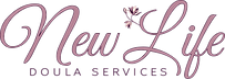 new life doula services logo with blooming flower