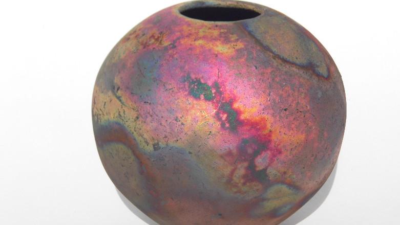 vase raku mat de cuivre