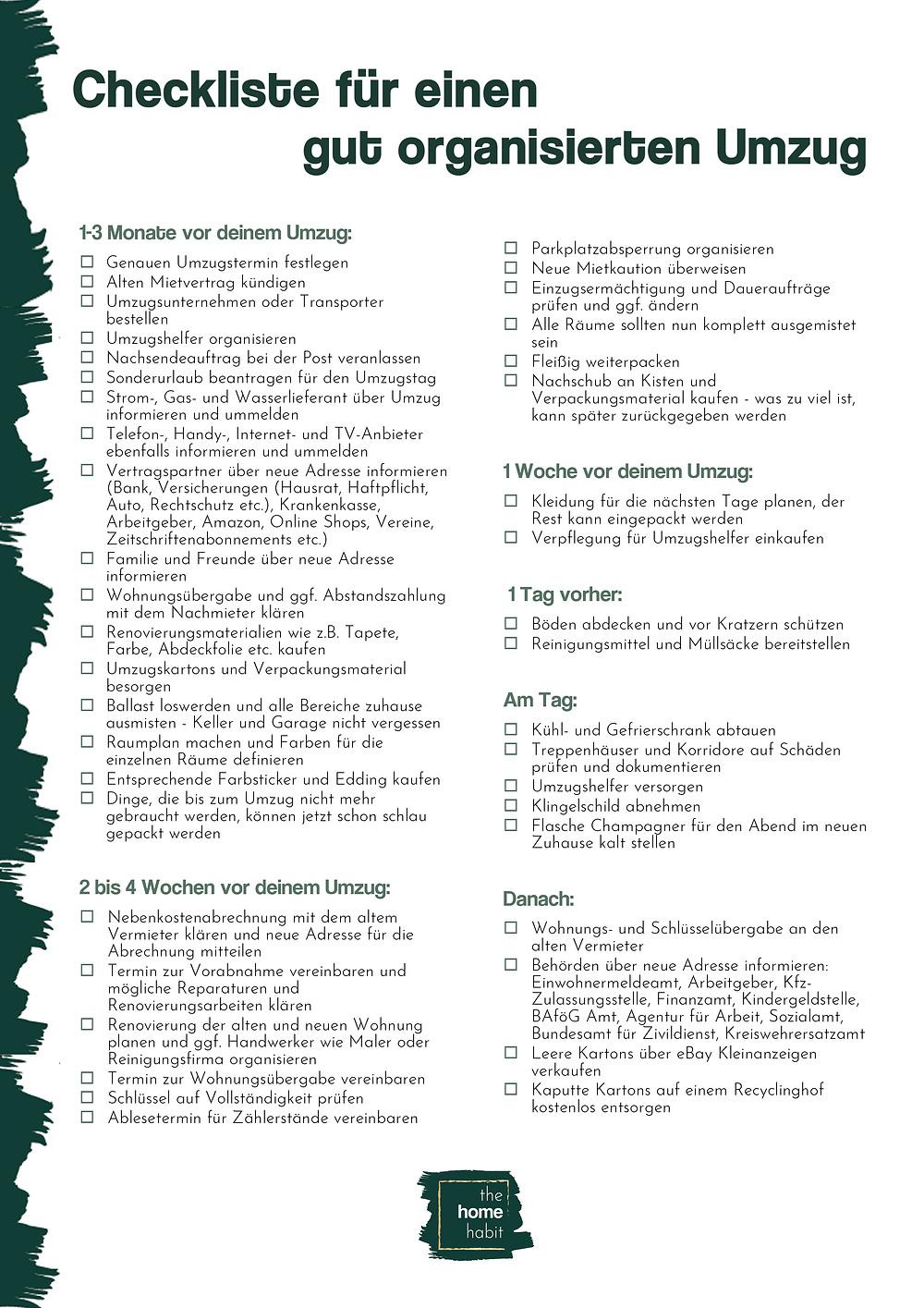 Checkliste für einen gut organisierten Umzug by The Home Habit