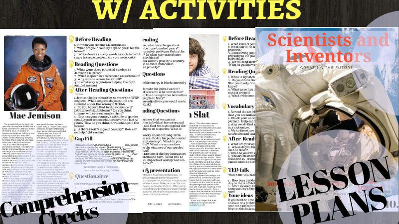 Famous Scientists & Inventors- 5 Lesson Advanced Reading Worksheet Bundle