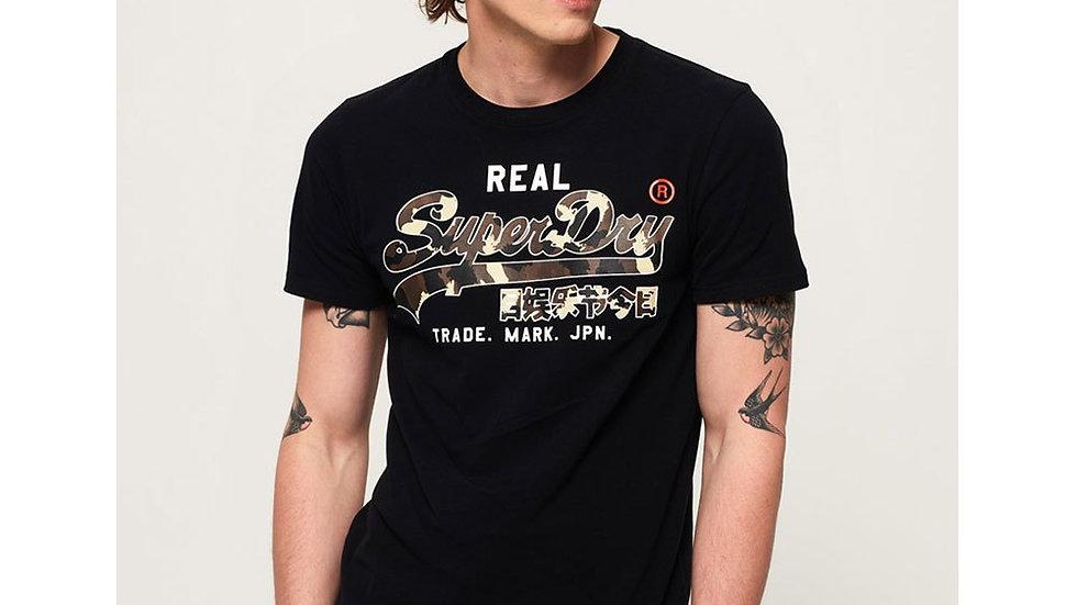 Superdry Vintage Logo Camo T-Shirt Mid Black