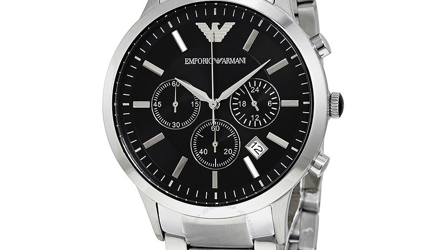Emporio Armani Classic Chronograph Black Dial Steel Men's Watch AR2434