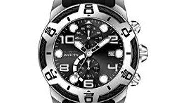 Invicta 24215 Bolt Chronograph Black Silicone and Stainless Steel Black Dial