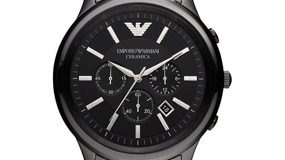 EMPORIO ARMANI Ceramica Chronograph Black dial 100% authentique