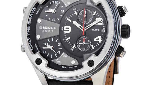 Diesel Men's Boltdown Chronograph Leather Black Dial