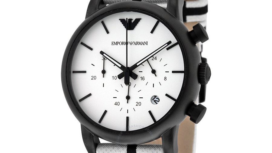 Emporio Armani Classic White Dial Chronograph Watch AR1859