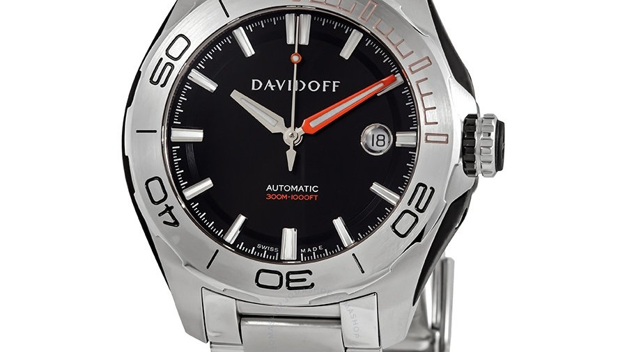 Davidoff  Men's Velocity Diver Stainless Steel Black Dial