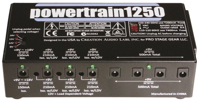 Powertrain1250 - aka PT1250 - pedalboard power supply