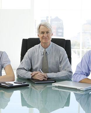 Business management team with senior lea