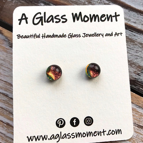 """""""The Auburns"""" Fused glass earrings on sterling silver"""