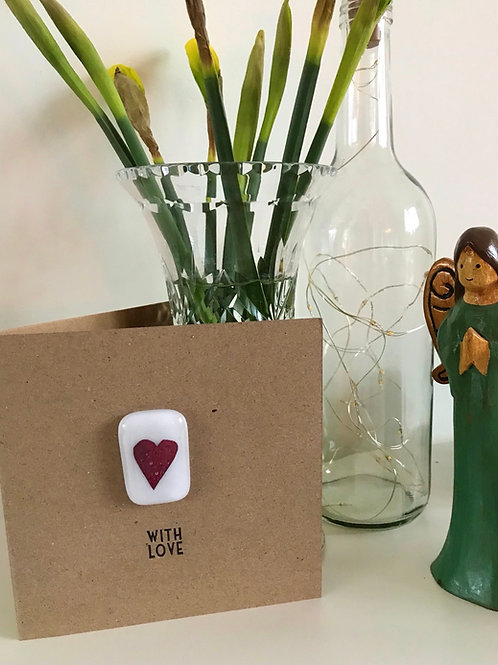 Fused Glass and Copper Heart With Love Card and envelope