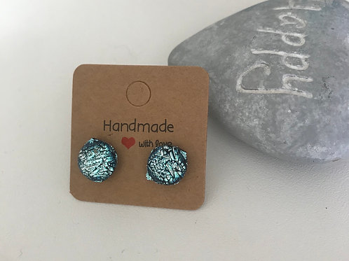 Fused glass silver slate stud earrings