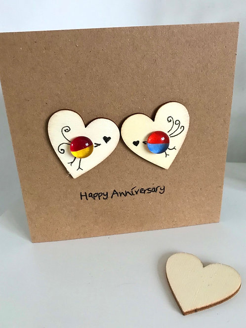 Fused Glass and Ink Happy Anniversary card and envelope