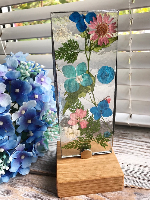 Wildflower Free-standing Glass Light-catcher - Pinks and Blues