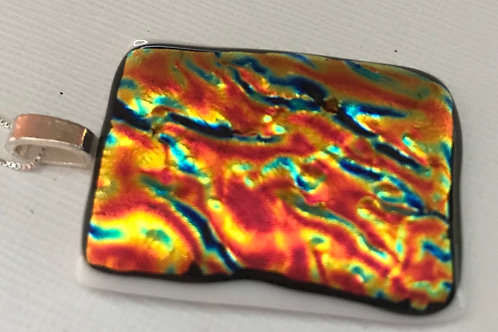 """Large fused glass pendant """"Fire"""" on 30""""  sterling silver chsin"""