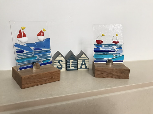 """""""Sail away"""" Free-standing fused glass on locally sourced oak"""