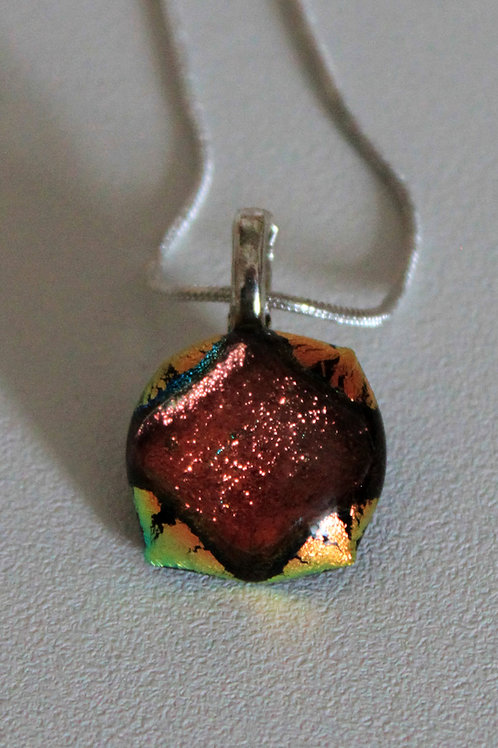 Copper dichroic pendant with  chain