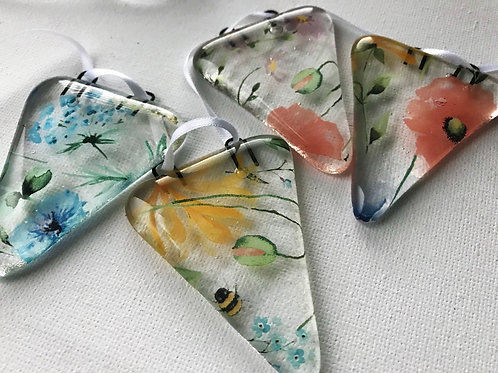 Wildflower Fused Glass Bunting